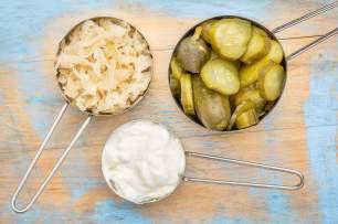 Sauerkraut, yogurt and pickles